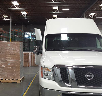 white van in warehouse